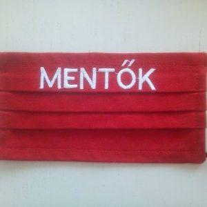 1 db piros, pamut  MENTŐK Hímzéssel készült maszk